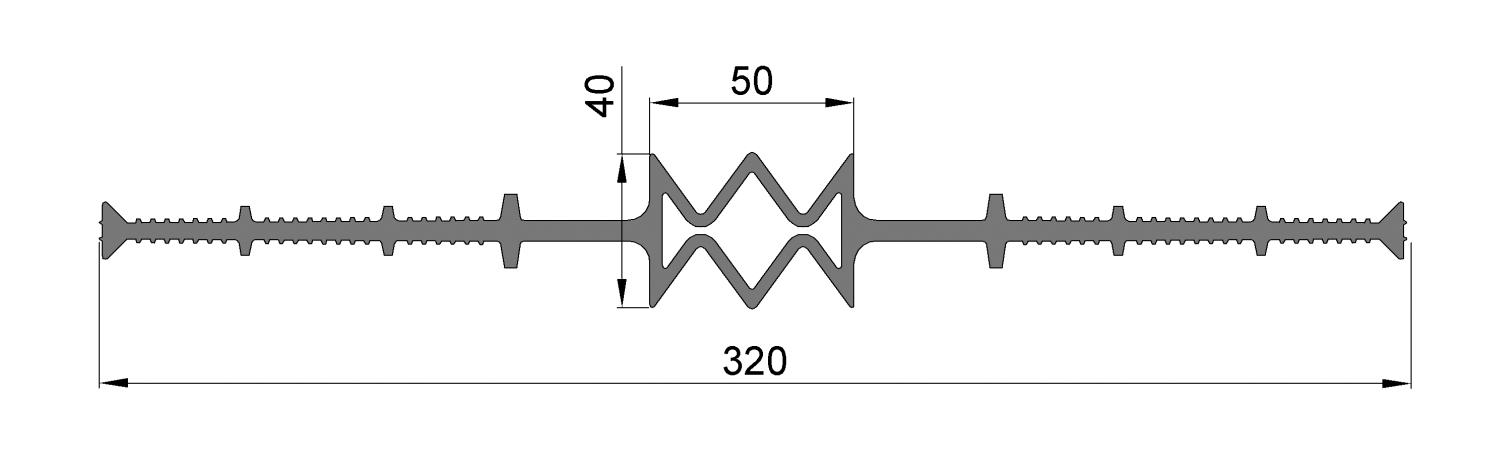ЦД320-50, ПВХ, ширина 320мм, шов 50мм